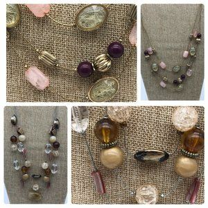 NYC Lot of 2 Glass Bead Multi Strand Necklaces